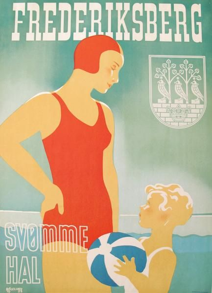 1938 Original Danish Travel Poster, Frederiksberg Svømmehal