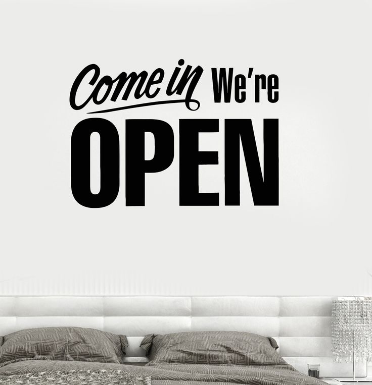 Wall decal come in open lettering doors for stores shops vinyl stickers ig2835