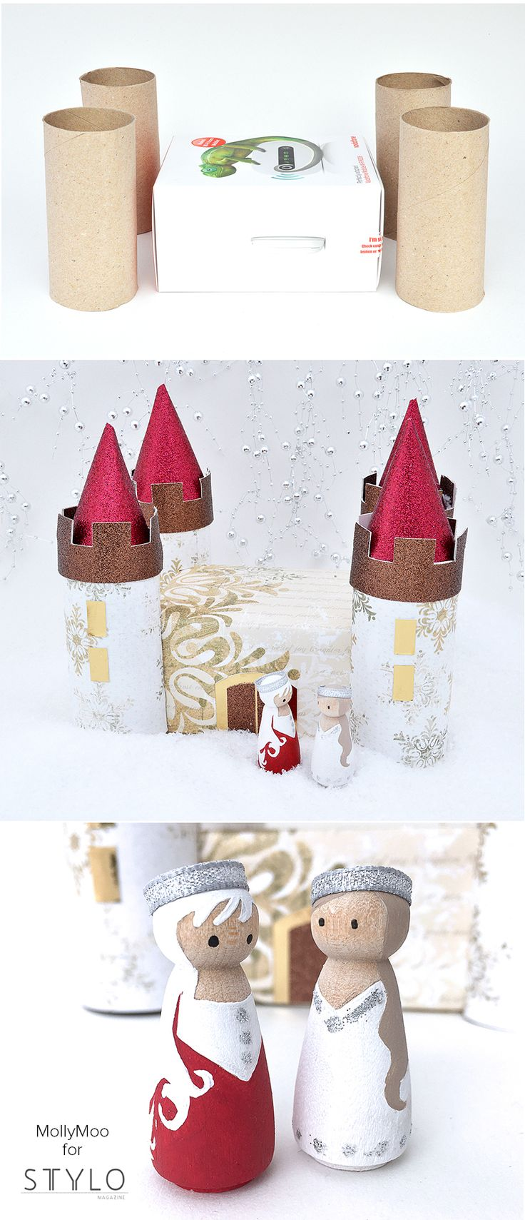 DIY WINTER PALACE & Peg Doll Princesses - cardboard box and toilet roll crafting | MollyMooCrafts.com for #stylomagazine (pg 115) @celinab