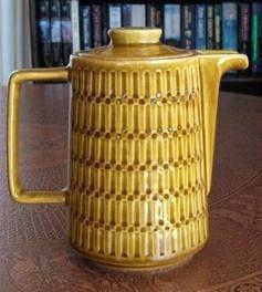 crown lynn coffee pot in  a honey glaze pattern