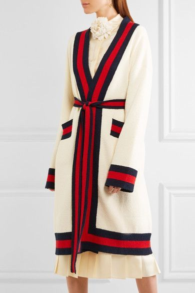 Gucci - Embellished striped cotton-blend terry cardigan in ...