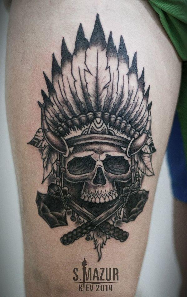 Skull thigh tattoo #TattooModels #tattoo