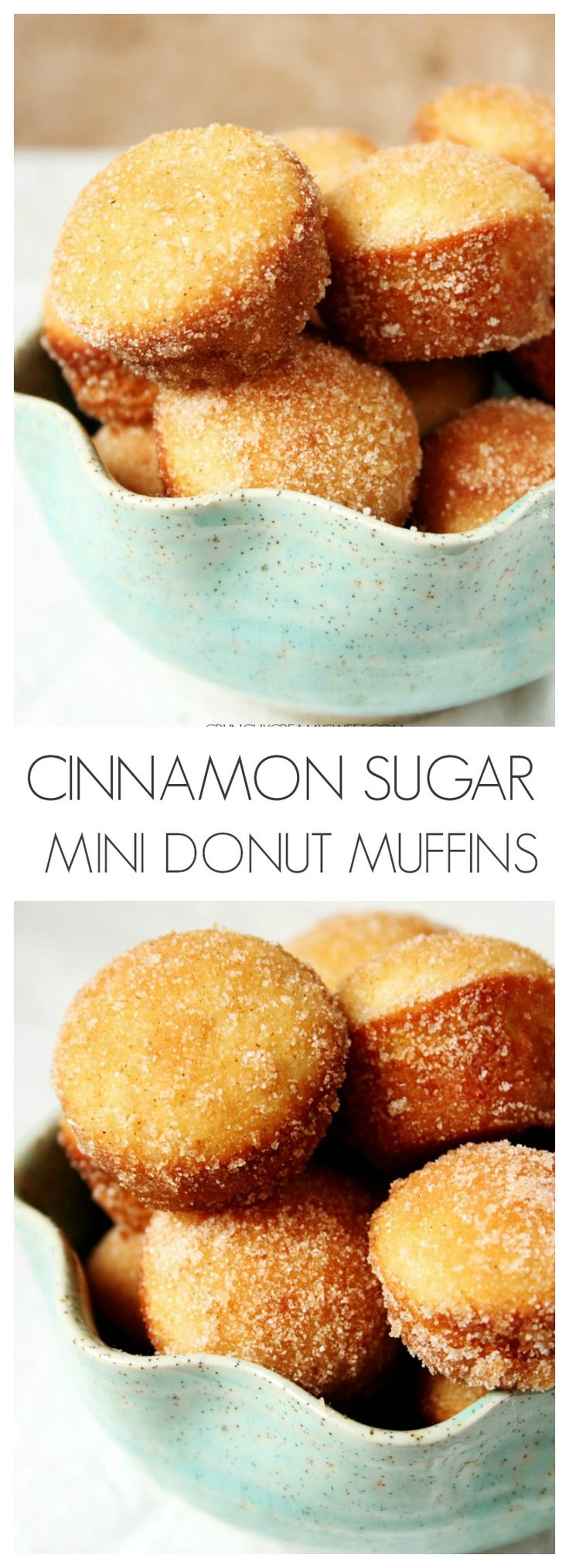 Cinnamon Sugar Mini Donut Muffins - little gems that look like muffins but taste like your favorite cinnamon donuts!  crunchycreamysweet.com