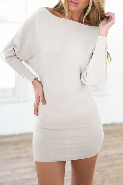 Slash Neck Batwing Sleeve Bodycon Dress