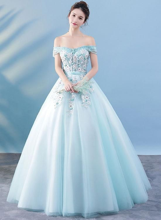 Light Blue Lace Tulle Long Prom Dress Lace Evening Dress In 2019
