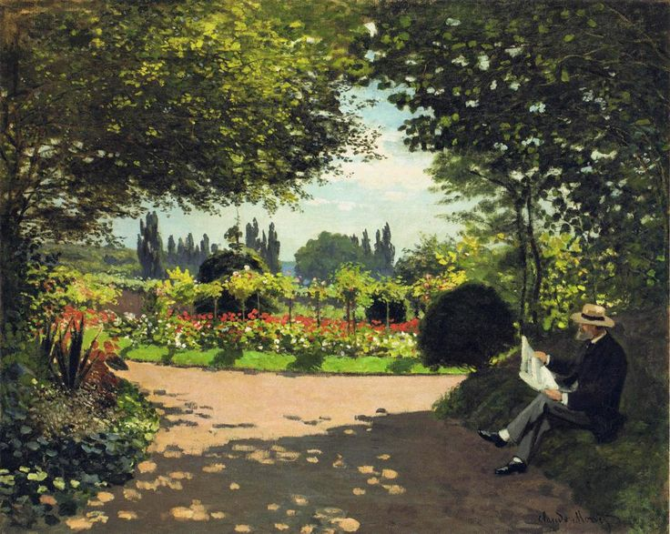 Claude Monet. Adolphe Monet Reading in the Garden 1866