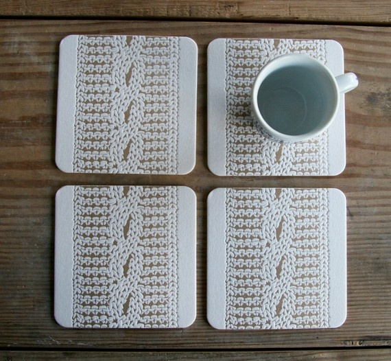 Letterpress cable knit coasters from redbirdink (etsy) http://www.etsy.com/shop/redbirdink