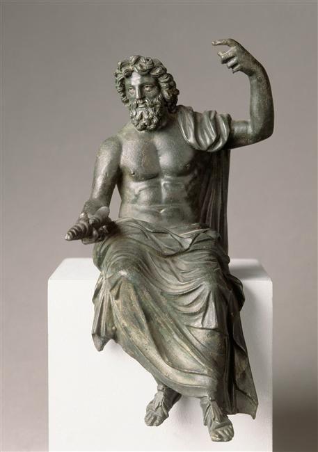 Jupiter (Zeus), Roman statuette (bronze), inspired by original by Phidias,1st-2nd century AD (original 5th c. BC), (Musée du Louvre, Paris).