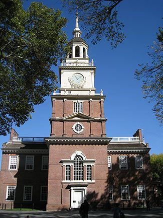 """The State House of the Province of Pennsylvania, now Independence Hall, was the meeting place for the Second Continental Congress, beginning on May 10, 1775. In 1776, Thomas Jefferson wrote the Declaration of Independence, Congress edited it, and on July 4, Congress accepted it, in the same Hall."" (Image: The clocktower at Independence Hall. Philadelphia, PA by Captain Albert E. Theberge, NOAA Corps (ret.) (NOAA Photo Library: amer0024). CC-BY-2.0 via Wikimedia Commons.)"