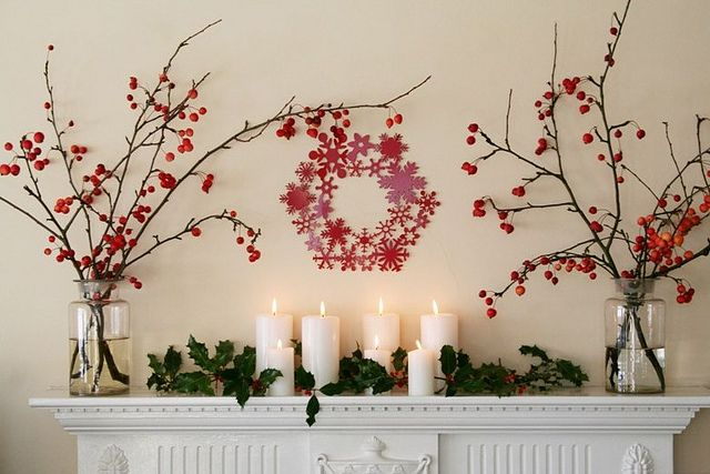 Christmas mantle - but I would replace the cutout wreath with a branch wreath or something more rustic