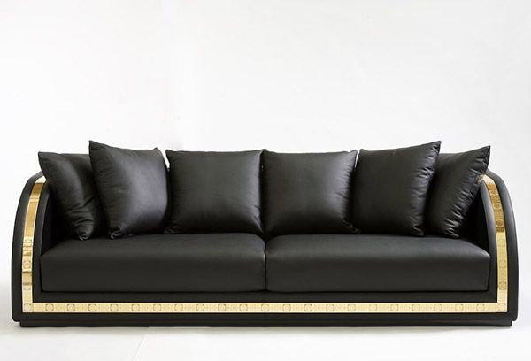 Wood padded with Polyurethane, upholstered with Black leather and Black velvet. Gold band with Emoji print. Available in fabrics and leather from the collection.Size: 3 seater cm 260x95xh73