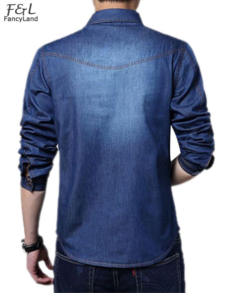 Nuevo 2015 Hot Venta de Moda Para Hombre Delgado Jean Larga Delgada Dril de algodón de manga Casual Camisa Azul Claro/Oscuro Azul Tamaño Libre Del Envío 41 en Camisas casuales de Ropa y Accesorios en AliExpress.com   Alibaba Group