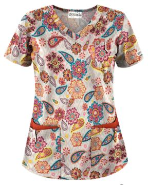UA Flower Child Sand Scrub Top Fashionable and functional, this rounded V-neck scrub top features two double front pockets and a chest pocket all with snap tab closures. Style # UA638FSA #UniformAdvantage #Uascrubs #AdayInScrubs #OrangeScrubs #PrintScrubs #FashionScrubs