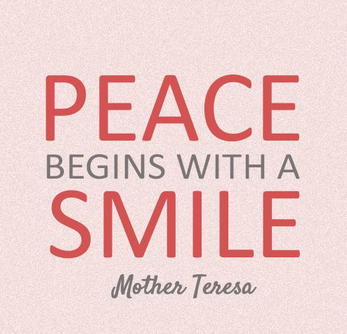Smiling brings #peace. #quote #MindfulLiving OurMLN.com