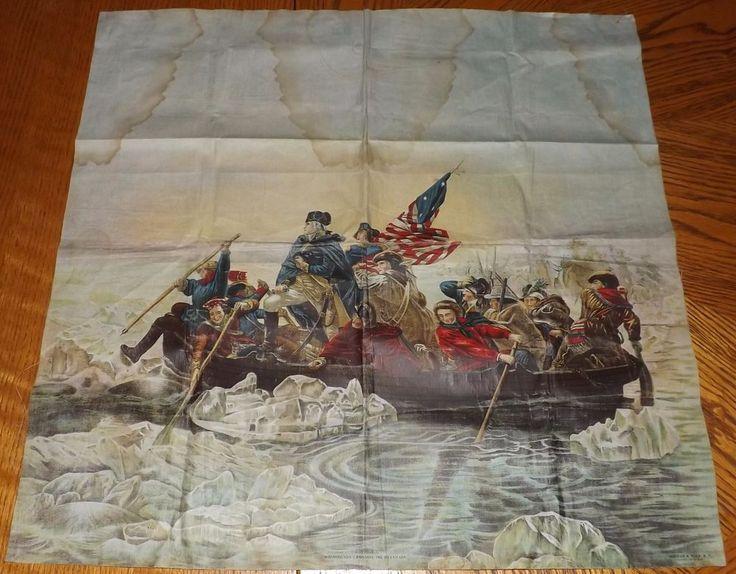 Antique Schwab & Wolf USA Linen Textile Litho 'Washington Crossing Delaware'