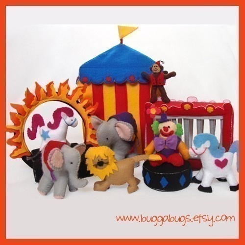 CIRCUS - PDF Doll Pattern (Tent, Clown, Elephants, Monkey, Show Horses, Lion, Cage, Ring of Fire, Stages)