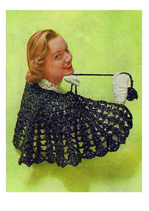 PDF Vintage 1950s Ladies Evening Shawl Crochet Pattern