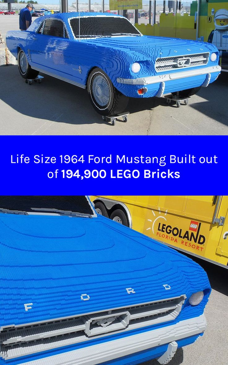 "LEGO Master Model Builders have built a life-size Lego replica of the ""1964½"" Ford Mustang out of 194,900 Lego and duplo bricks. #lego #car #mustang"