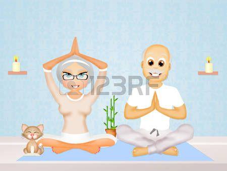 yoga couple: anziani coppia facendo yoga