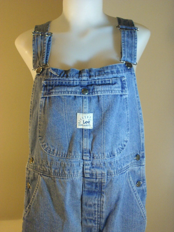 Vintage Lee Denim Blue Jean Bib Overall Shorts Overall