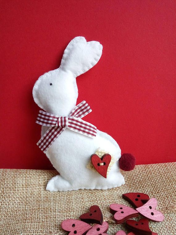 Felt bunny, Easter decoration, Easter basket filler