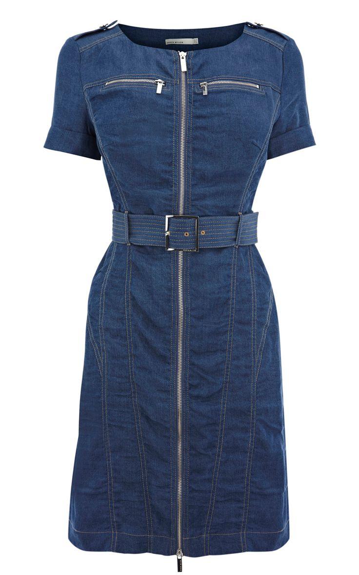 Karen Millen Soft Denim Dress ,fashion Karen Millen Solid Color Dresses outlet
