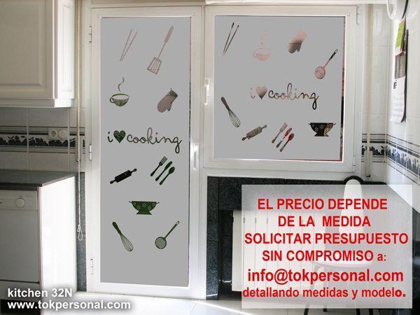 Vinilo decorativo para la puerta de tu cocina es ideal para substituto de las cortinas por - Vinilo puerta cocina ...