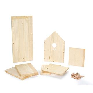 Unfinished Wooden Bird House Kit: 7.48 x 6.12 x 3.78 inches