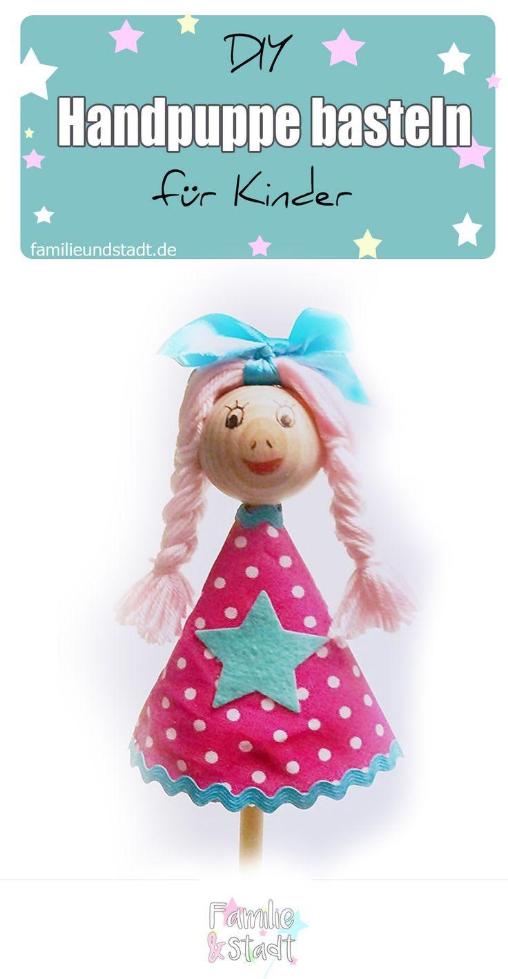 DIY Handpuppen basteln mit Kinder aus Holz, coole Puppe selber machen