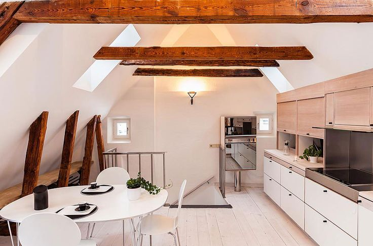 Amazing Attic Apartment to Live In: Chic White Painted Attic With A View Of The Rooftops Home One Side Kitchen And Dining Room In White