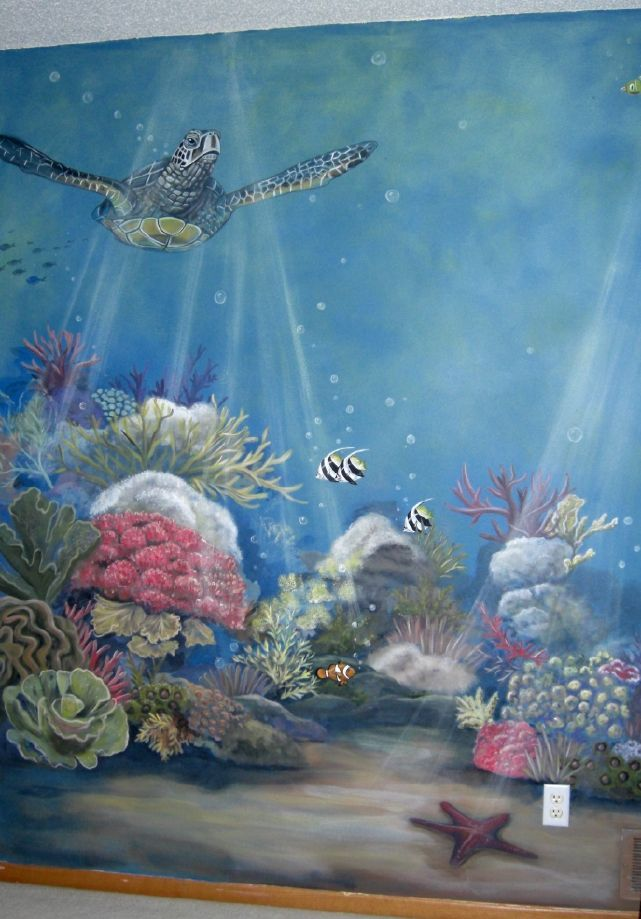 Baby nursery ocean theme mural idea as seen on www for Baby nursery mural