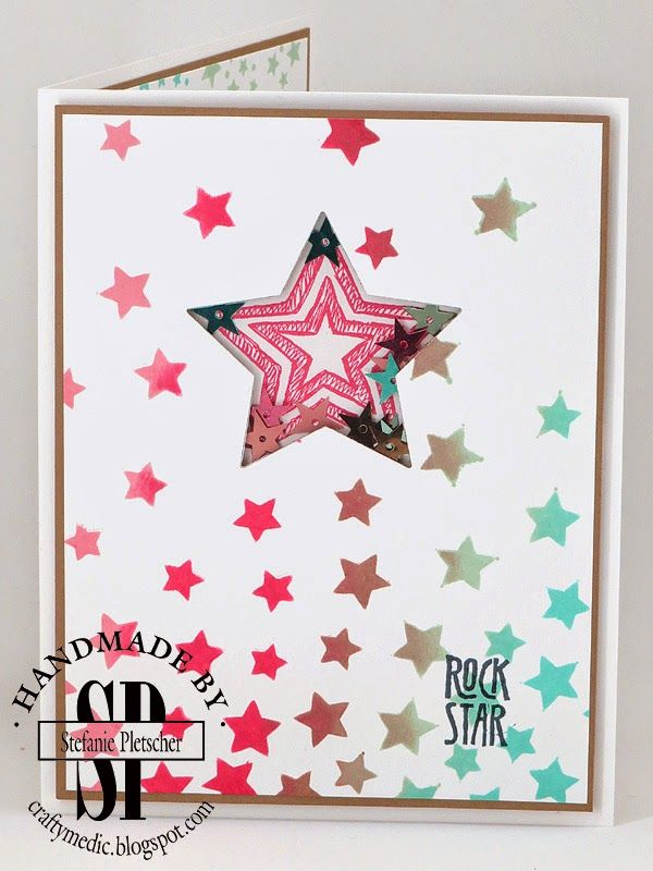 The Crafty Medic: Rock Stars - Stampin' Up! stars stamps, framelits, sequins, and masks. More photos on blog.