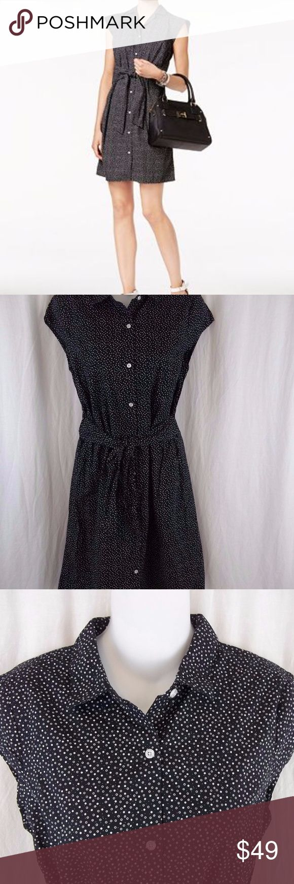"""Tommy Hilfiger Women's Shirtdress Black Dot New Tommy Hilfiger Women's Shirtdress Size S/P Button Down Black Dot Belted NWT New   Size: S/P Brand: Tommy Hilfiger Color: Black/White  Style: Shirt dress Neckline: Button front Sleeves: Cap sleeves Material: 100% Cotton Condition: New with tags, retails $79.50 Country of Manufacture: India  Measurements Length: 36"""" Underarm to underarm (laying flat): 18"""" Tommy Hilfiger Dresses Midi"""