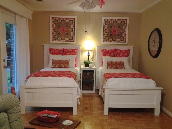 love these double beds twin white distressed farmhouse shared room so cute