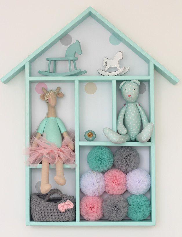 półka drewniany domek regał miętowy - ululani - Wystrój pokoju dziecięcego