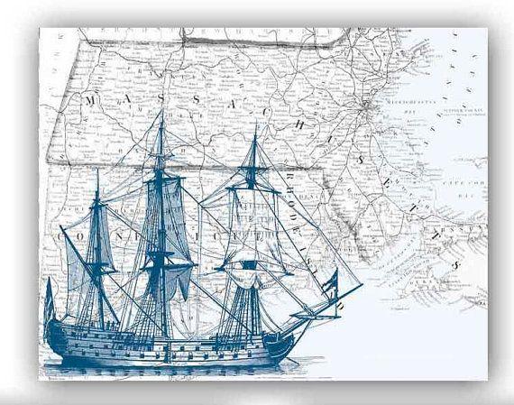 Sailboat Print in dark blue on antique map Massachusetts, Map Wall Art, 11x14 inches, nautical print, decorative arts