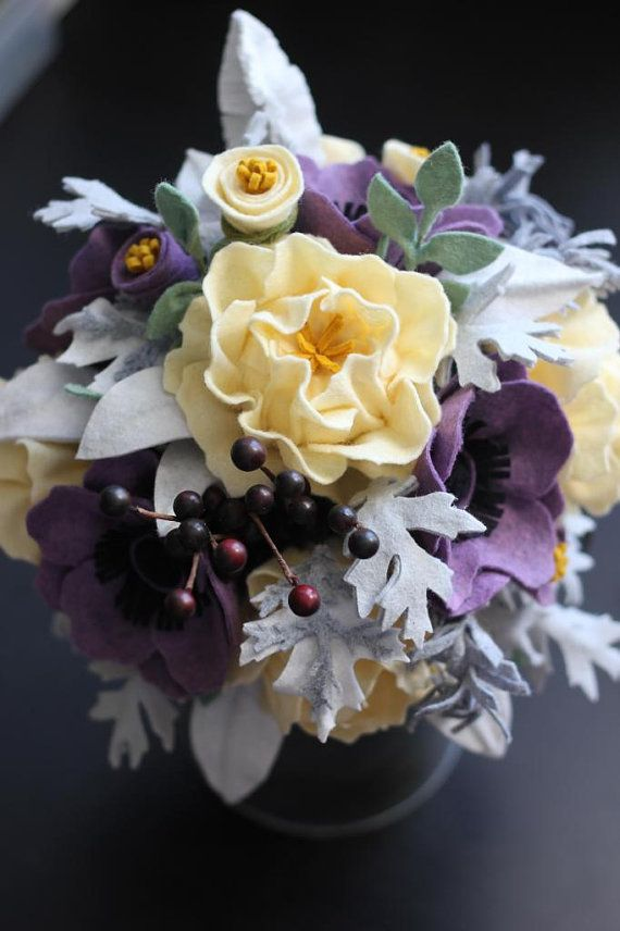 Felt Flower Wedding Bouquet. Custom Made For por TheFeltFlorist