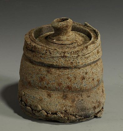 Daniel Murphy Lidded Canister, 2012 wood fired iron rich clay 6 x 5 1/2 x 5 1/2 inches