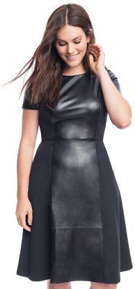 Plus Size Faux Leather and Ponte Mix Dress