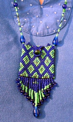 Blue & Green Amulet Bag Necklace