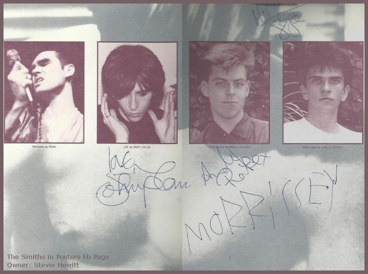 Record inner sleeve signed by The Smiths
