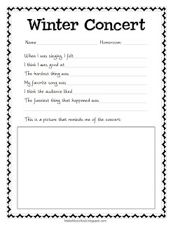 Winter Concert Reflection Sheet. Students record their thoughts after the performance, and then share with the class. PDF Download.