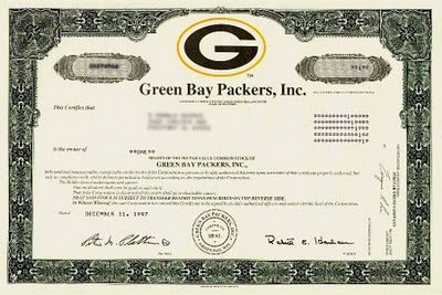 Green Bay Packers - 1997 Stock Certificate.