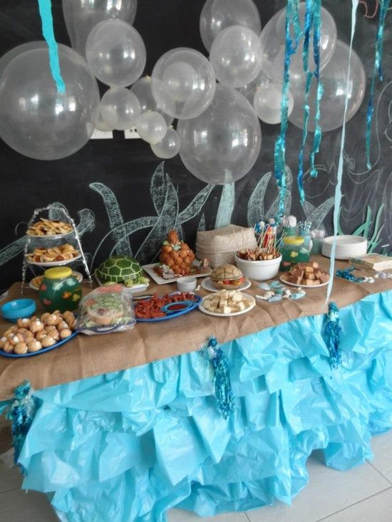 Real mermaid party balloon party table backdrop used for Ariel decoration ideas