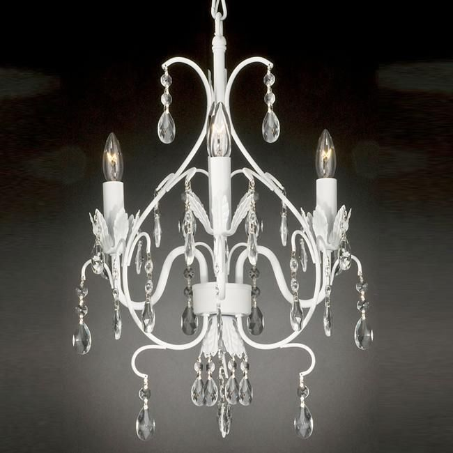 Wrought Iron Crystal Chandelier Lighting Country French White 3 Lights Ceiling Fixtureclose Out