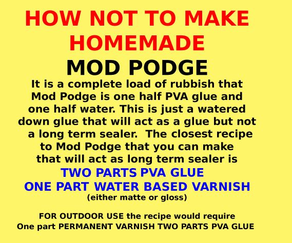 Long time restorer Peter Kingston's recipe for homemade/ home made mod podge or the closest home recipe to it. One part water one part pva would crack, peel long term.