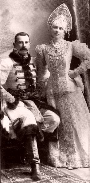 """Zinaida and Felix Yusupov at a ball of 1903, in """"traditional Russian costume""""."""