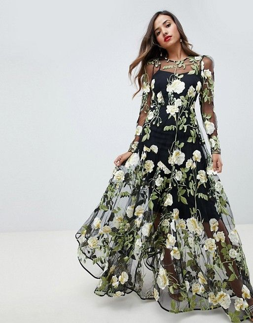 cdc6e415ed46e EDITION floral embroidered maxi dress with cutabout skirt