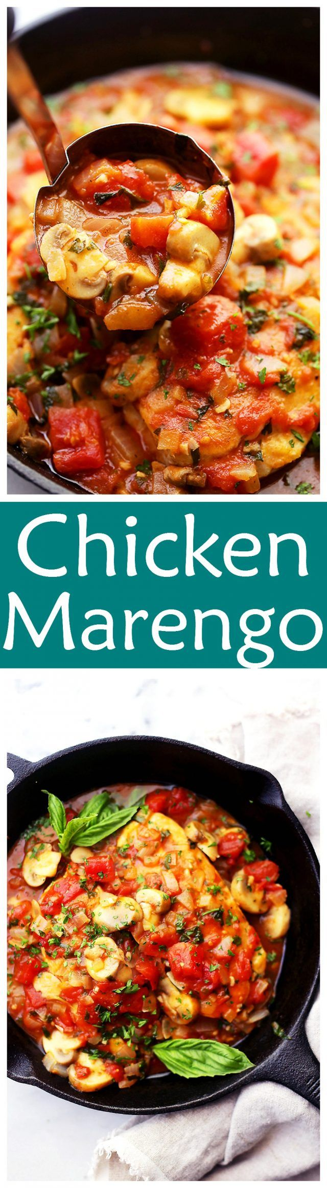 Chicken Marengo - Saucy, a little spicy, and a whole lot delicious French-inspired chicken dish topped with tomatoes and mushrooms! #ad with @huntschef #HuntsDifference
