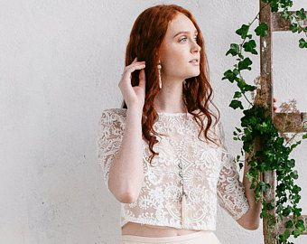 Wedding Top ,Bridal Lace Top , Bridal Crop Top, Wedding Separates, Ivory Nude Bridal Lace Top, Sheer Top, Beaded Lace Crop Top -ASTRID